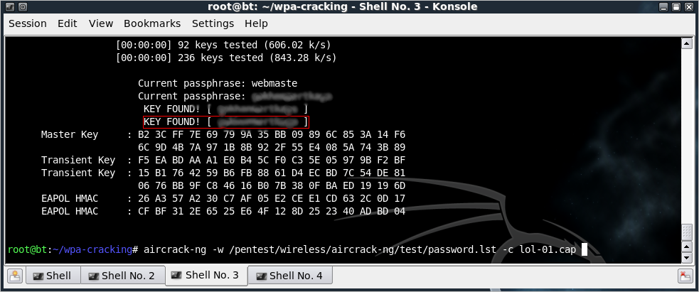 airecrack-ng -w /pentest/wireless/aircrack-ng/test/password.lst -c lol-o1.cap