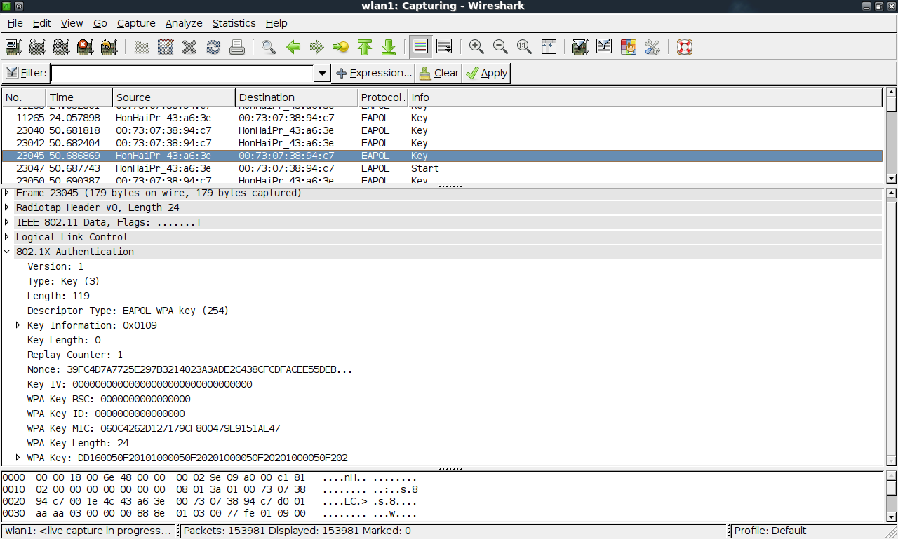 wireshark wireless authentication packages
